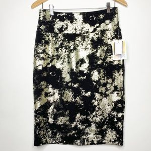 NWT Lularoe Black and Gold Pencil Skirt